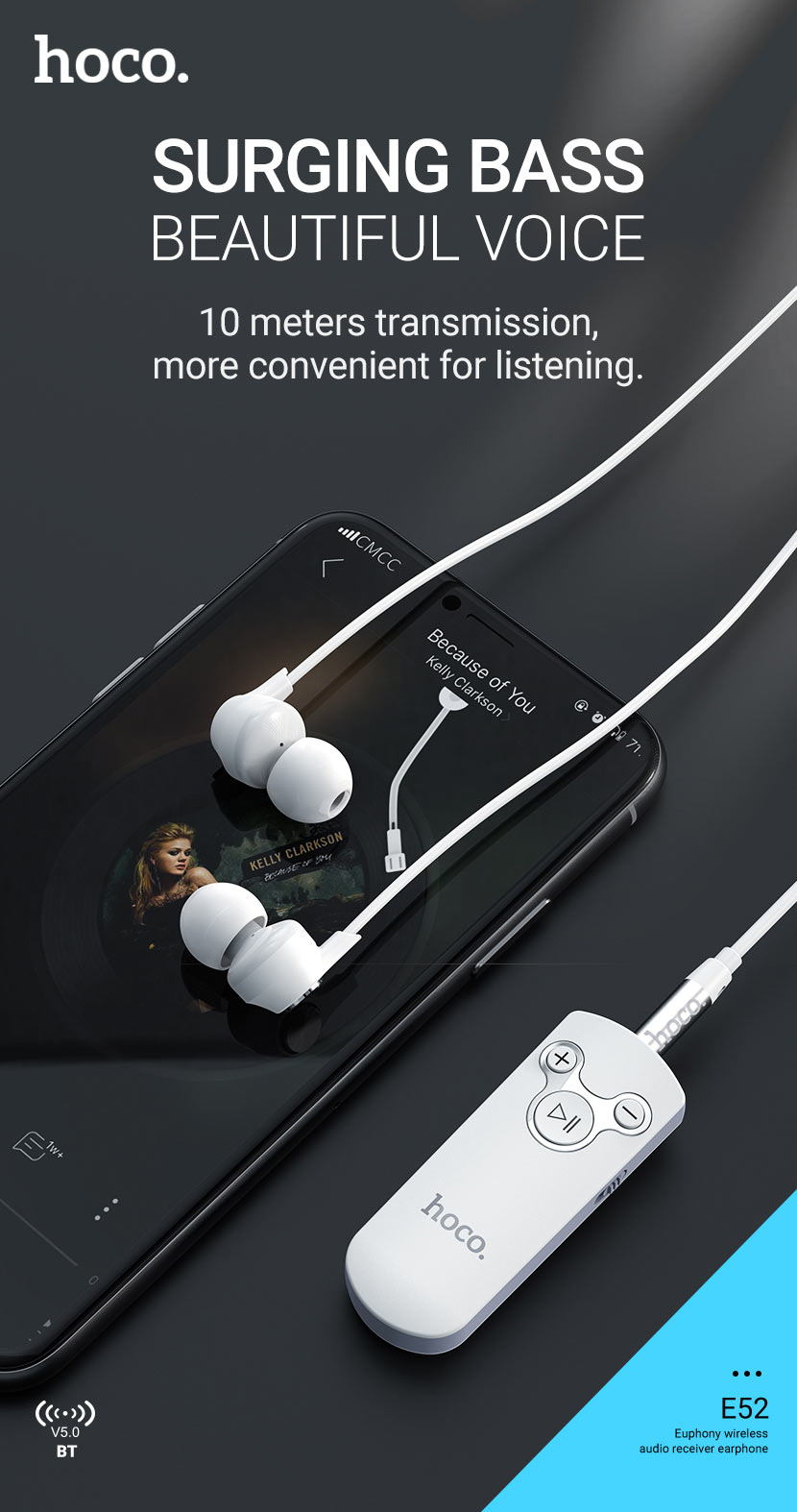 hoco news e52 euphony wireless audio receiver earphones bass en