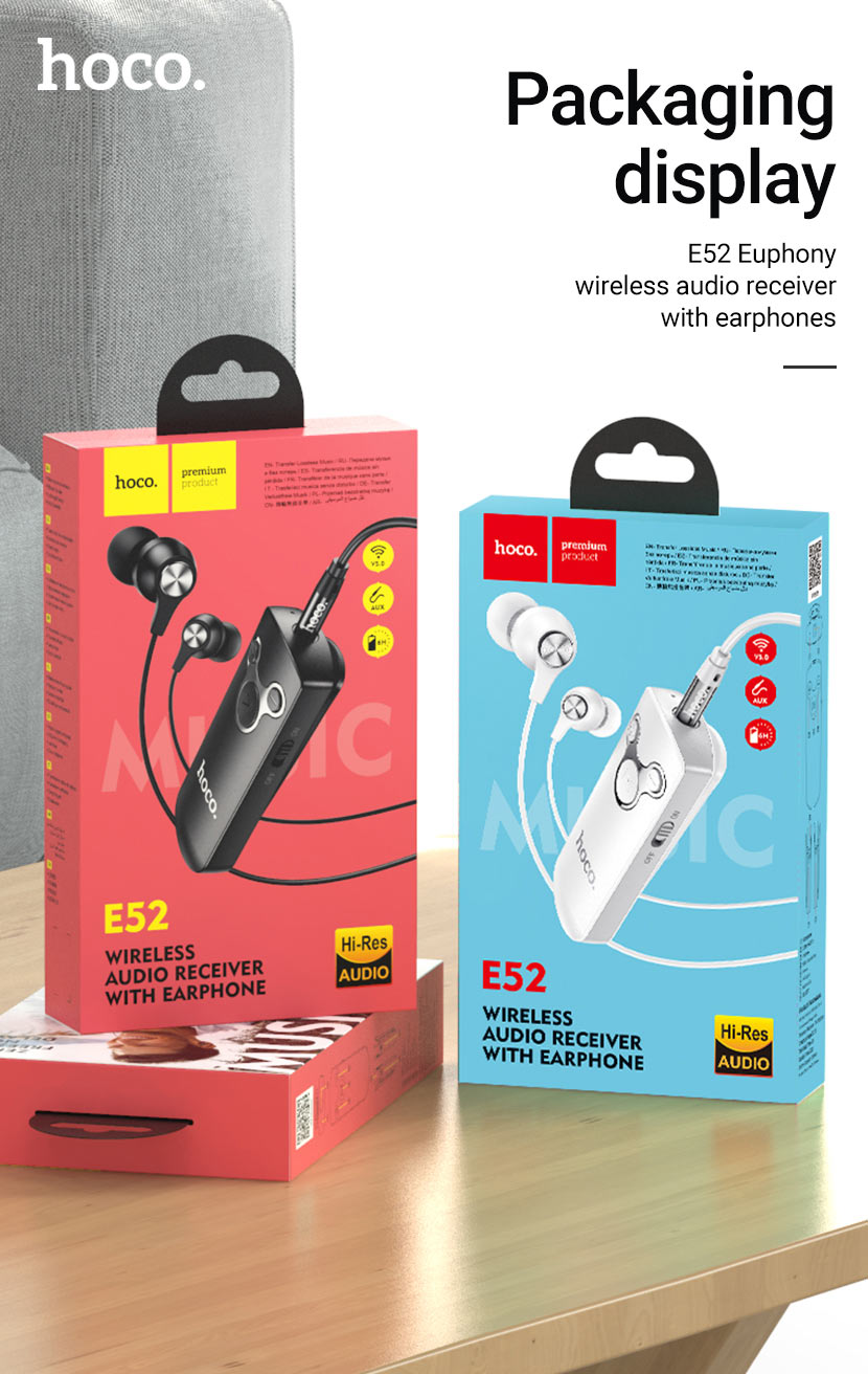 hoco news e52 euphony wireless audio receiver earphones package en