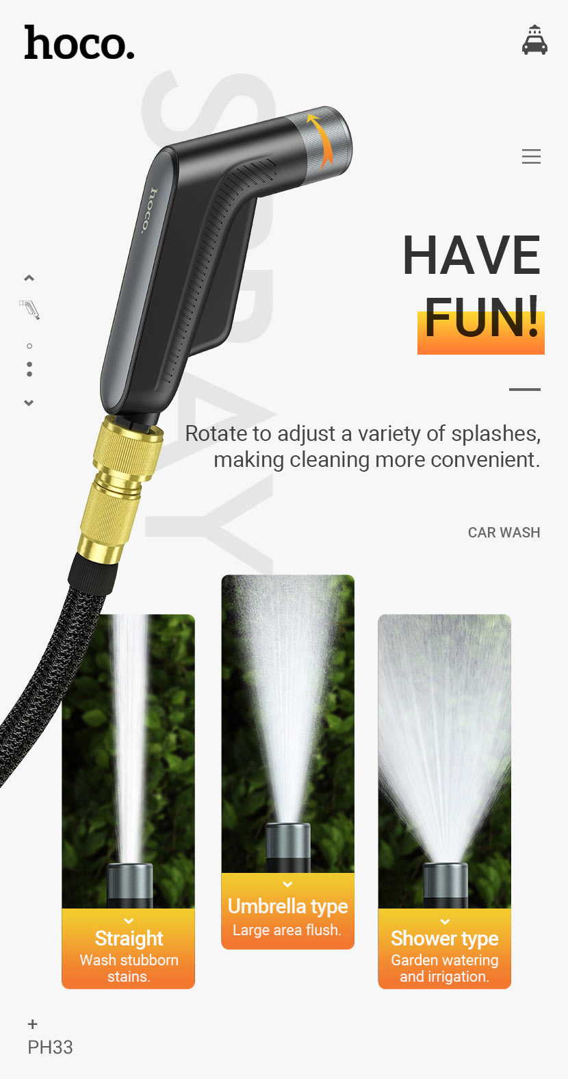 hoco news ph33 clair car wash water gun set fun en