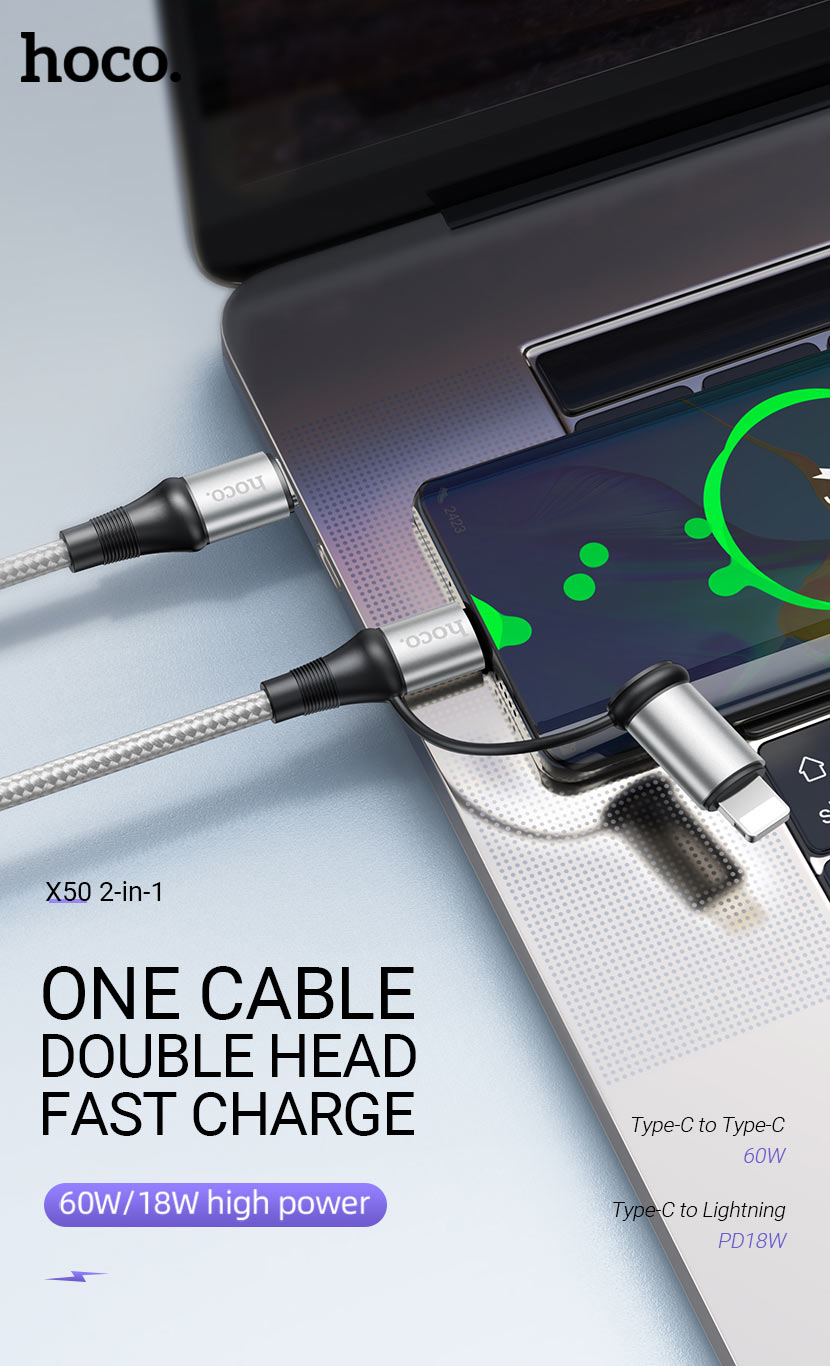 hoco news x50 exquisito charging data cable 2in1 60w 18w en