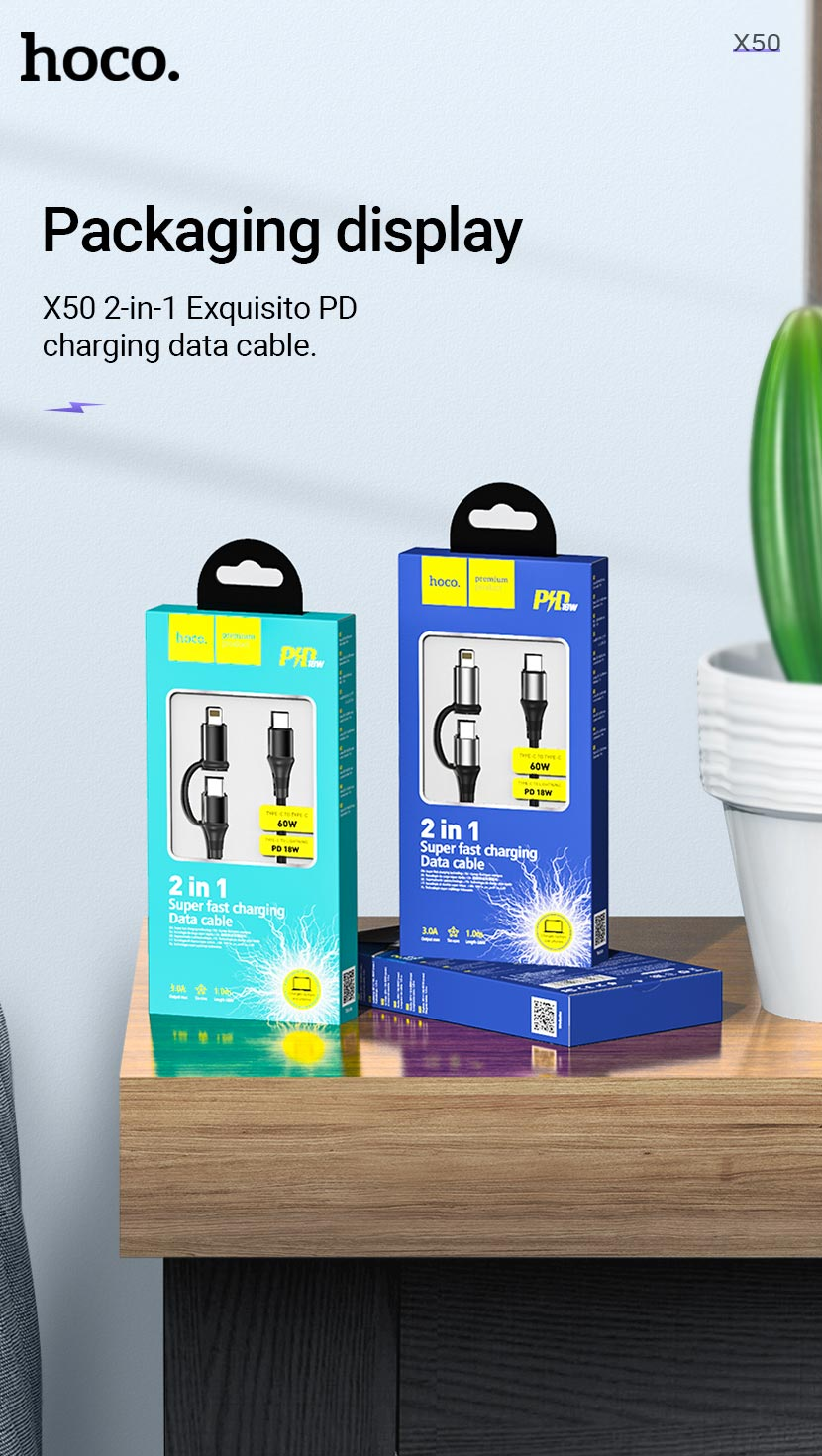 hoco news x50 exquisito charging data cable 2in1 package en