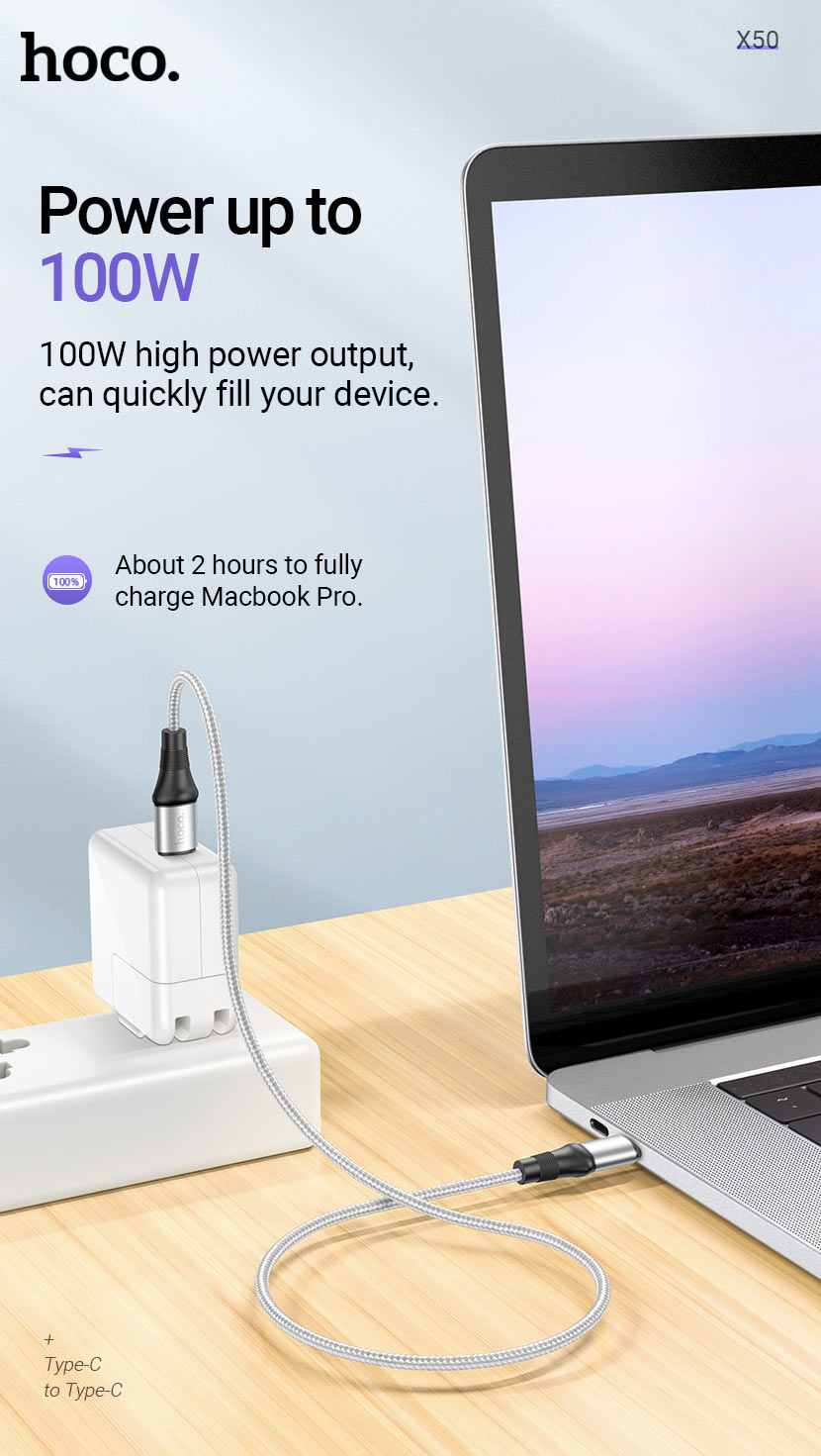 hoco news x50 exquisito charging data cable power 100w en