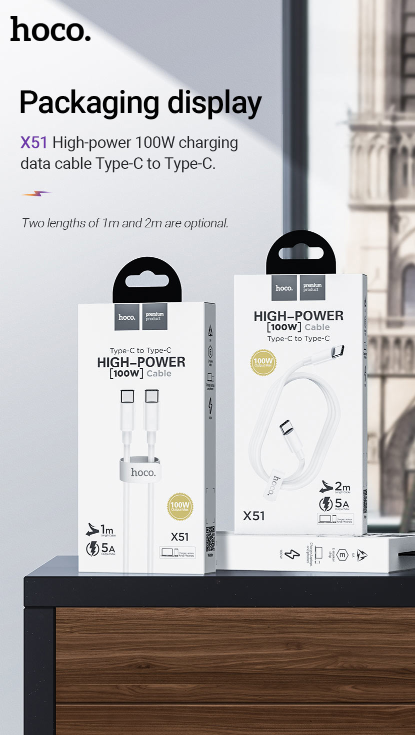 hoco news x51 high power 100w charging data cable package en