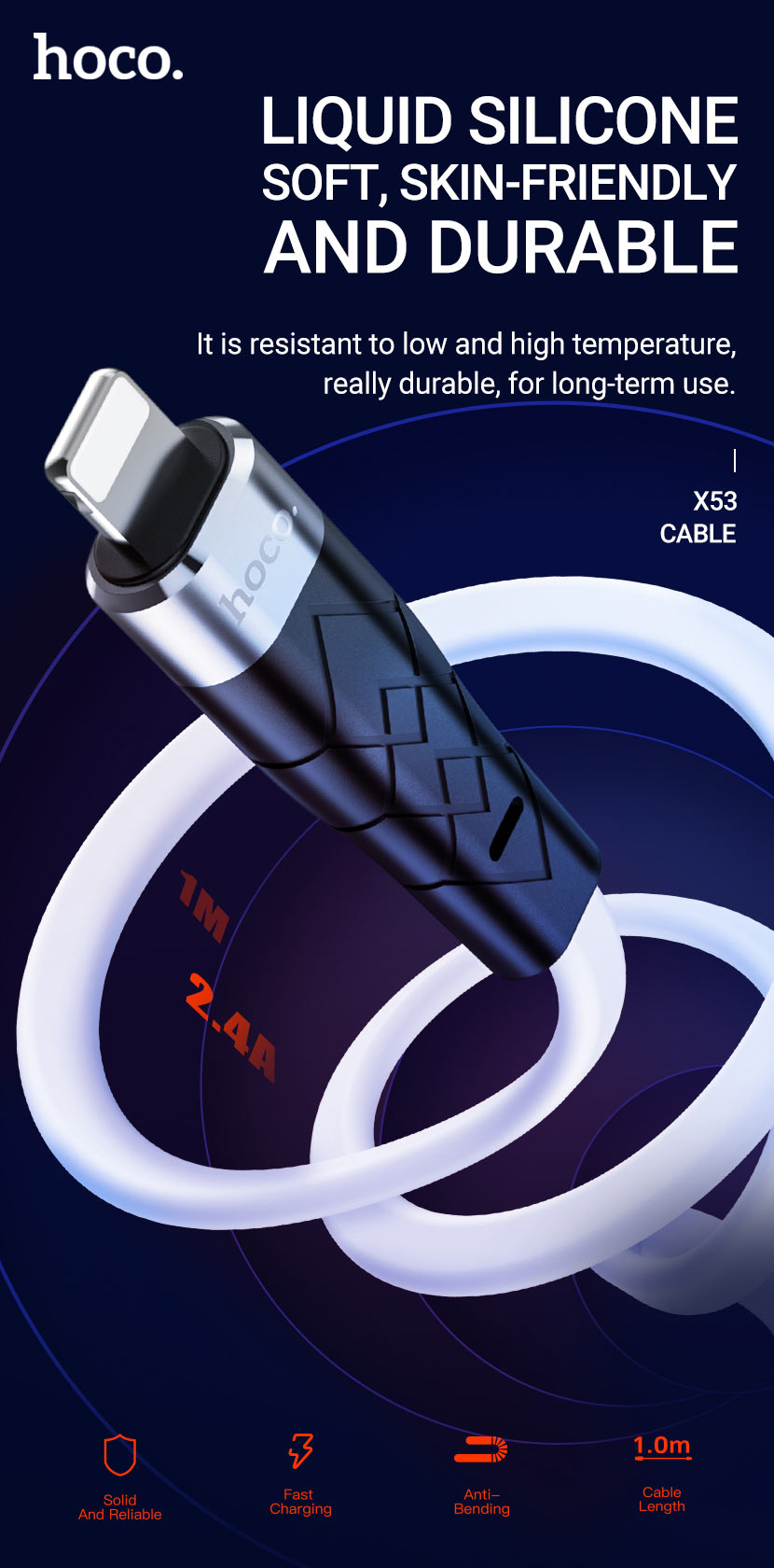 hoco news x53 angel silicone charging data cable en