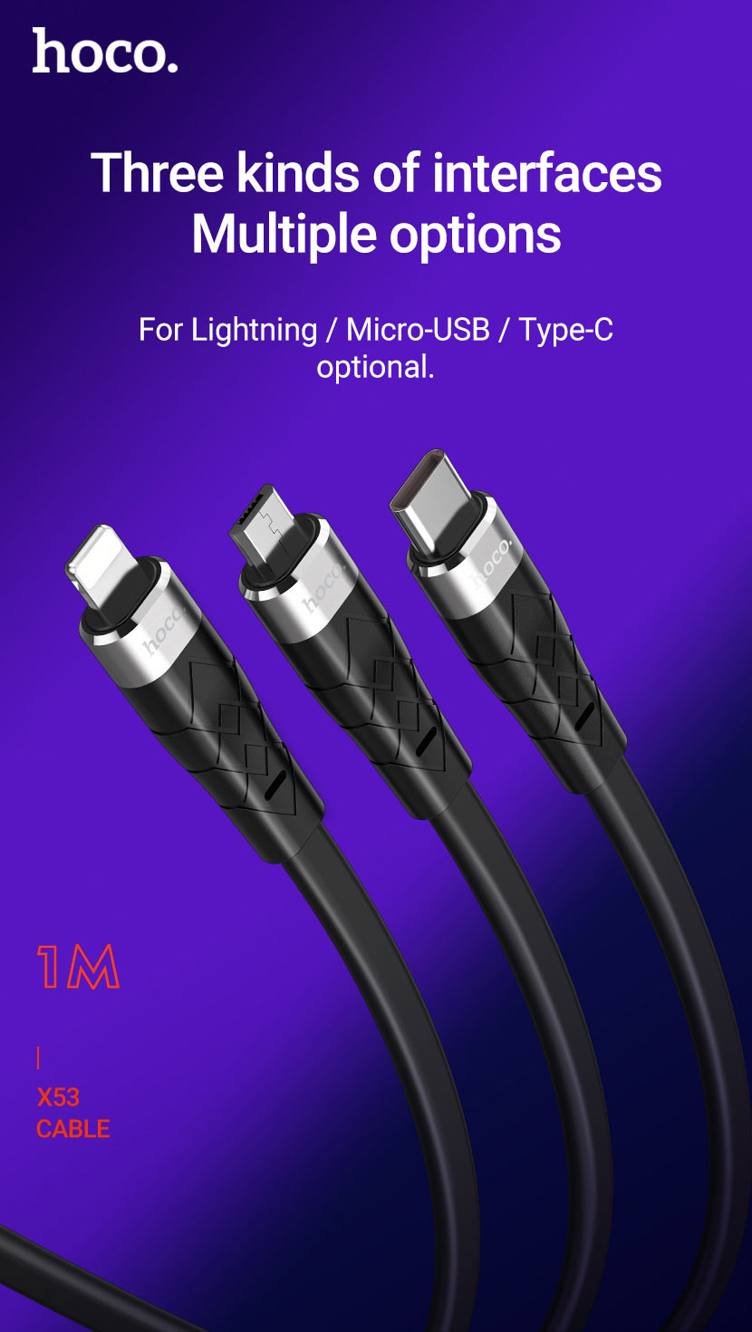 hoco news x53 angel silicone charging data cable interfaces en