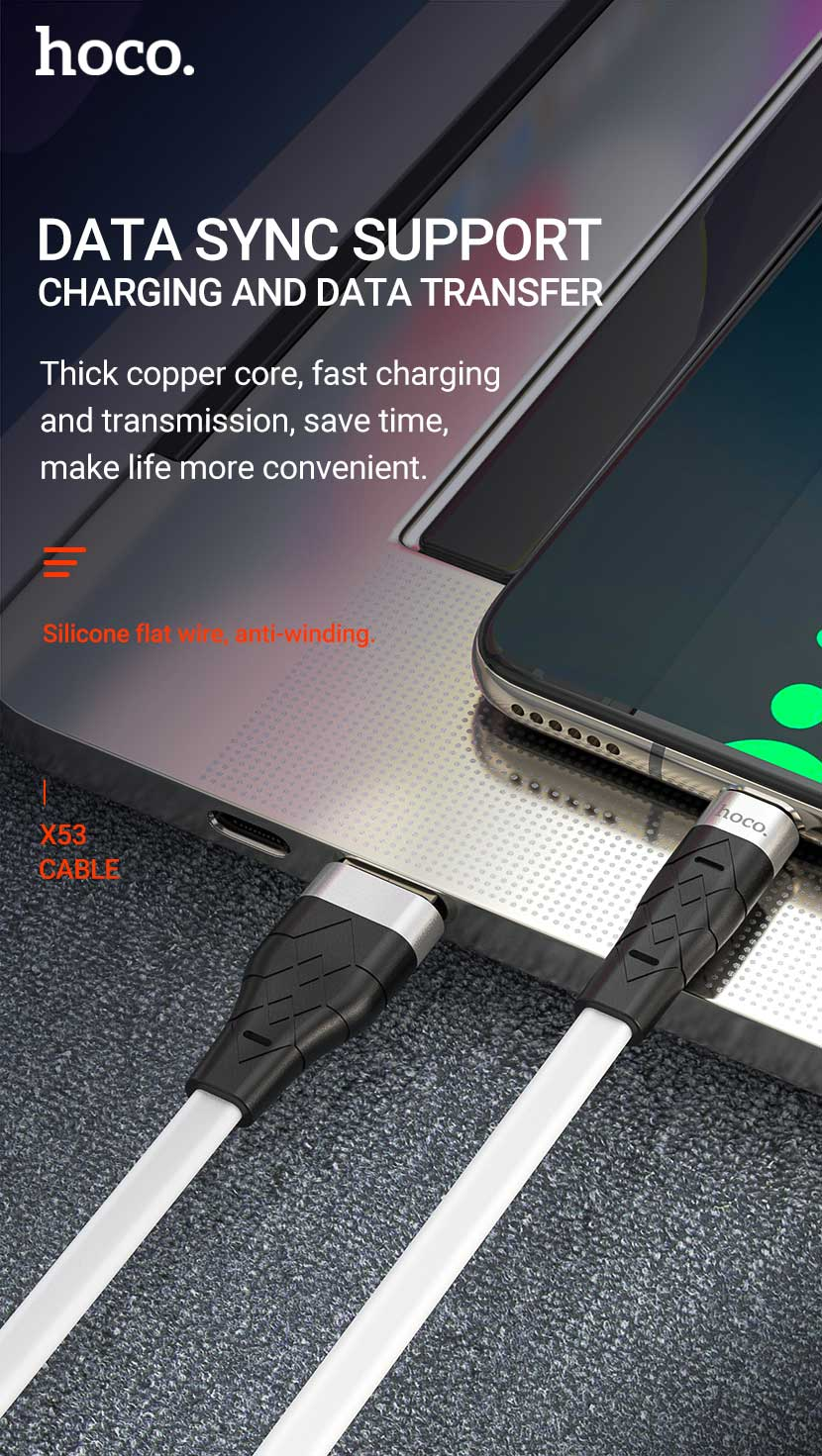 hoco news x53 angel silicone charging data cable sync en