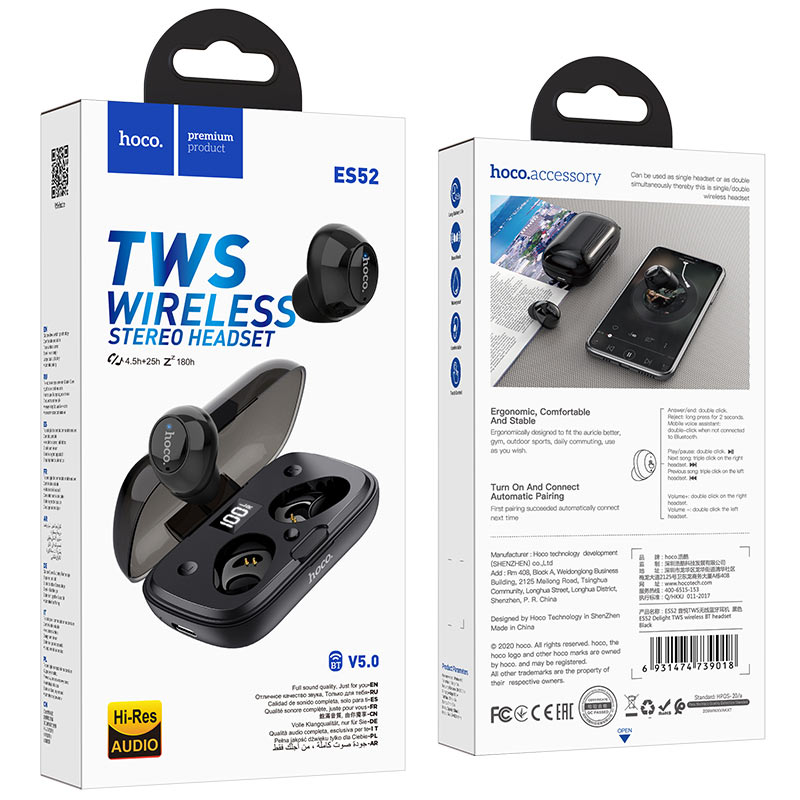 hoco es52 delight tws wireless bt headset package