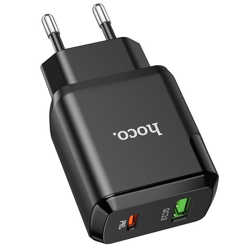 hoco n5 favor dual port pd20w qc3 wall charger eu black