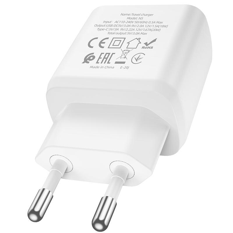 hoco n5 favor dual port pd20w qc3 wall charger eu certification