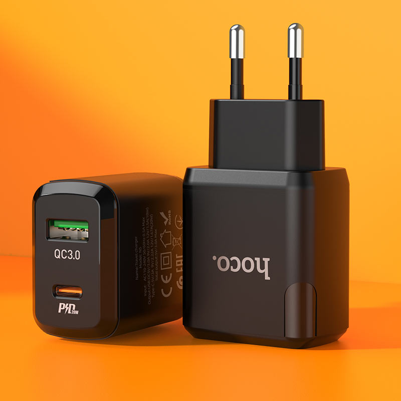 hoco n5 favor dual port pd20w qc3 wall charger eu interior
