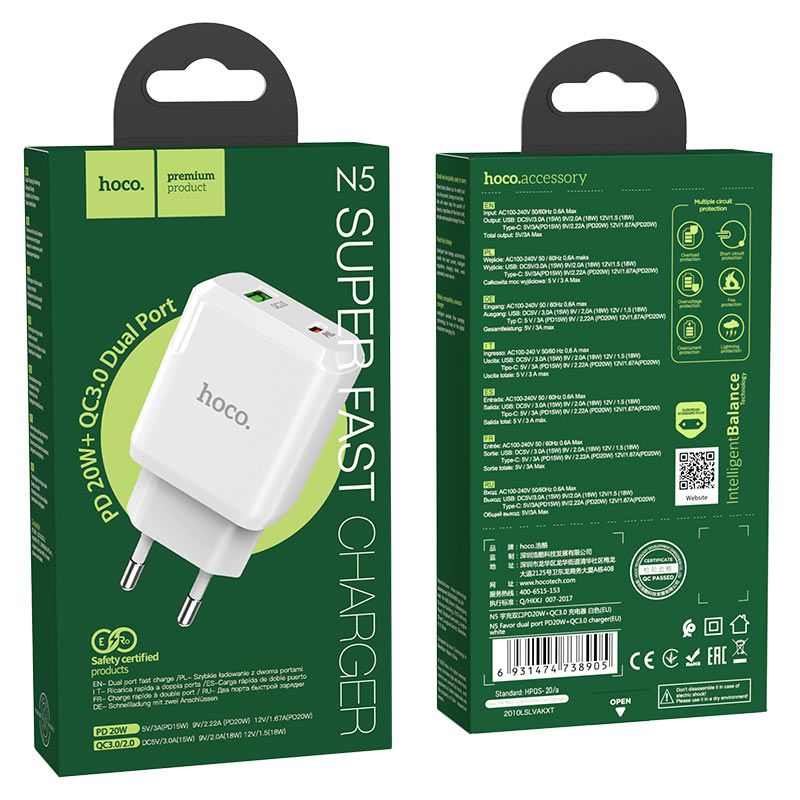 hoco n5 favor dual port pd20w qc3 wall charger eu package white