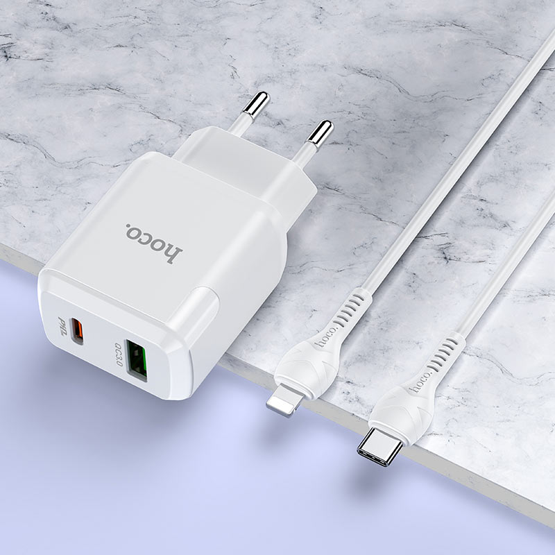 hoco n5 favor dual port pd20w qc3 wall charger eu type c to lightning set interior white