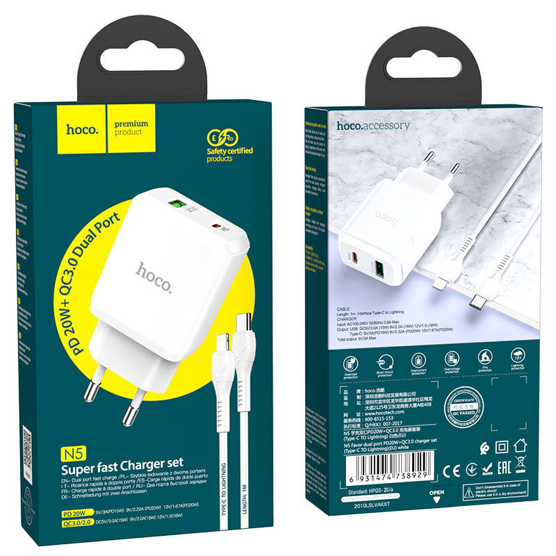 hoco n5 favor dual port pd20w qc3 wall charger eu type c to lightning set package white