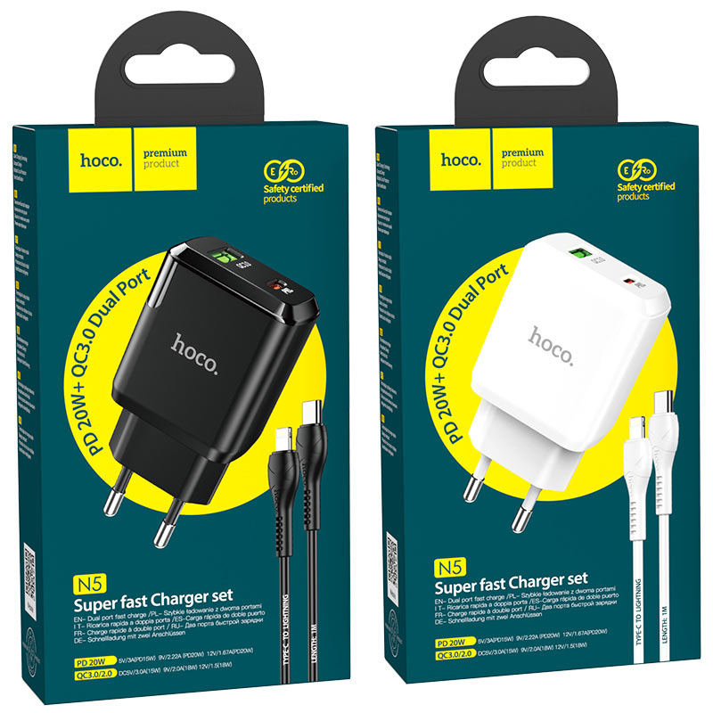 hoco n5 favor dual port pd20w qc3 wall charger eu type c to lightning set packages