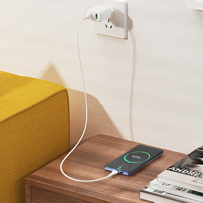 hoco n5 favor dual port pd20w qc3 wall charger eu type c to type c set charging