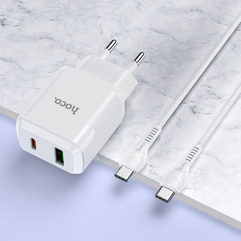 hoco n5 favor dual port pd20w qc3 wall charger eu type c to type c set interior white