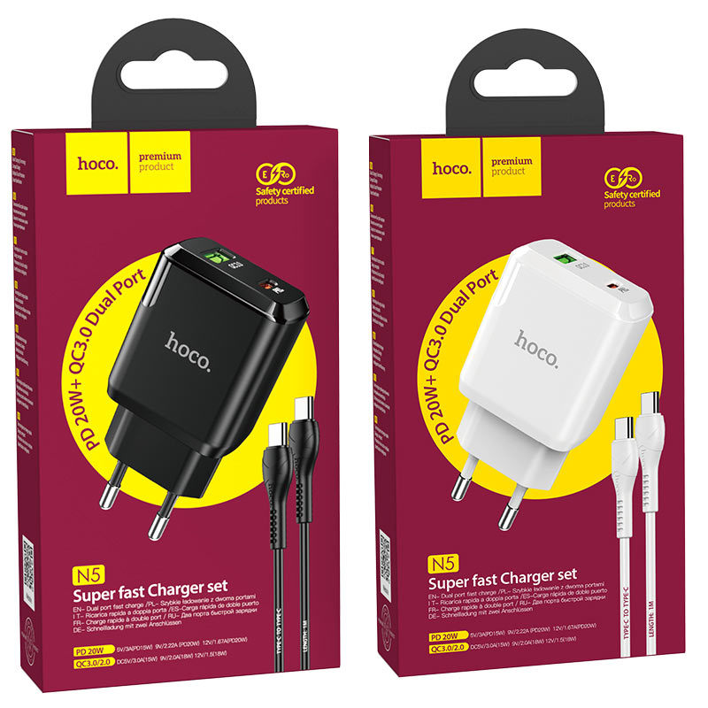 hoco n5 favor dual port pd20w qc3 wall charger eu type c to type c set packages