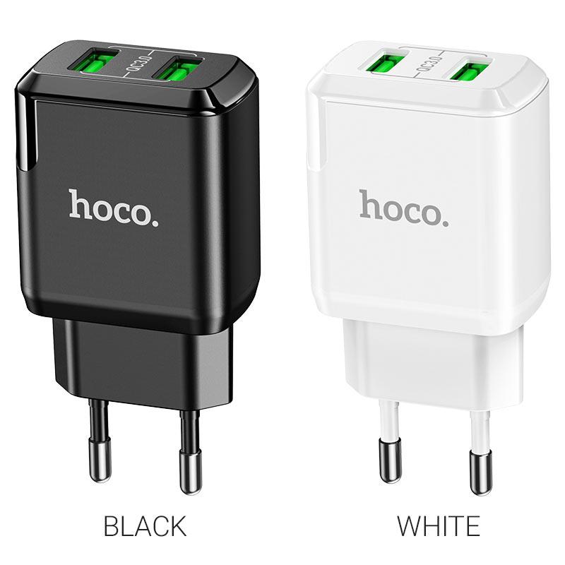 hoco n6 charmer dual port qc3 wall charger eu colors