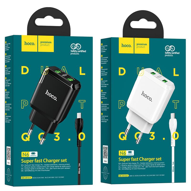 hoco n6 charmer dual port qc3 wall charger eu micro usb set packages