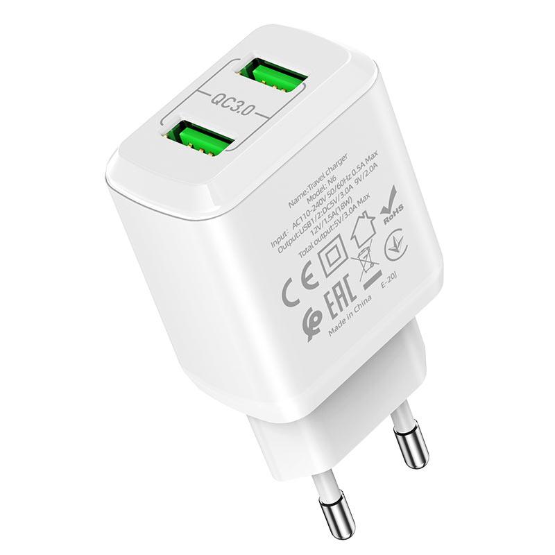 hoco n6 charmer dual port qc3 wall charger eu outputs