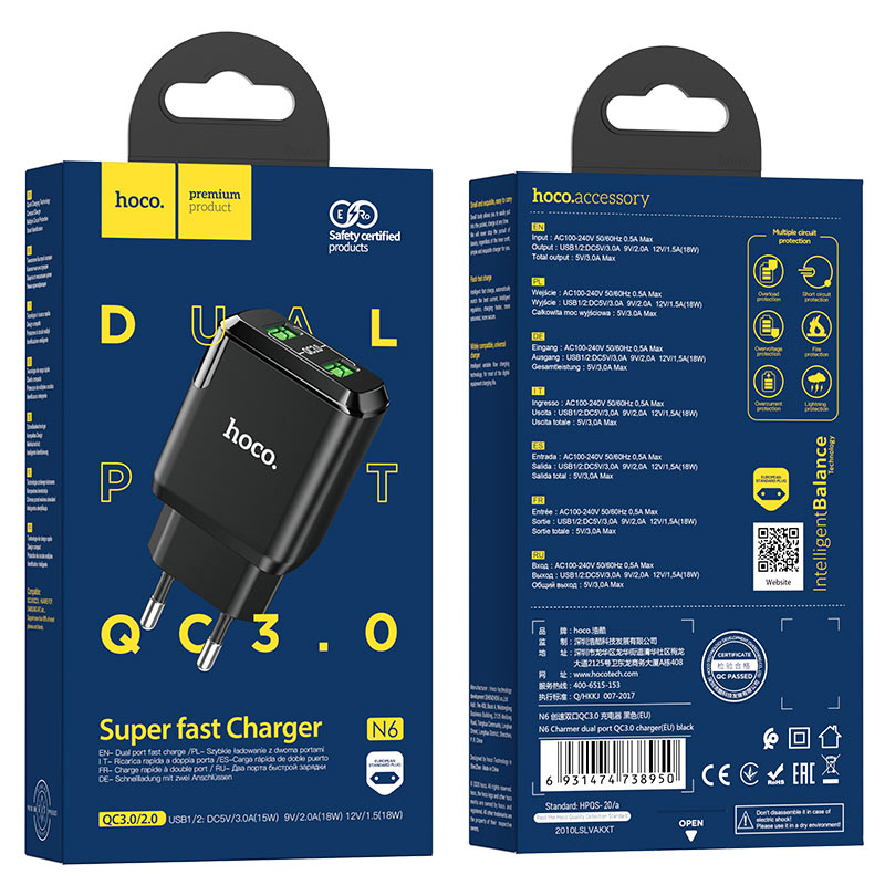 hoco n6 charmer dual port qc3 wall charger eu package black