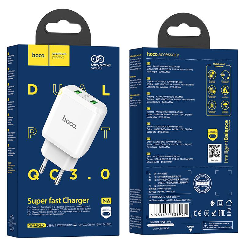 hoco n6 charmer dual port qc3 wall charger eu package white