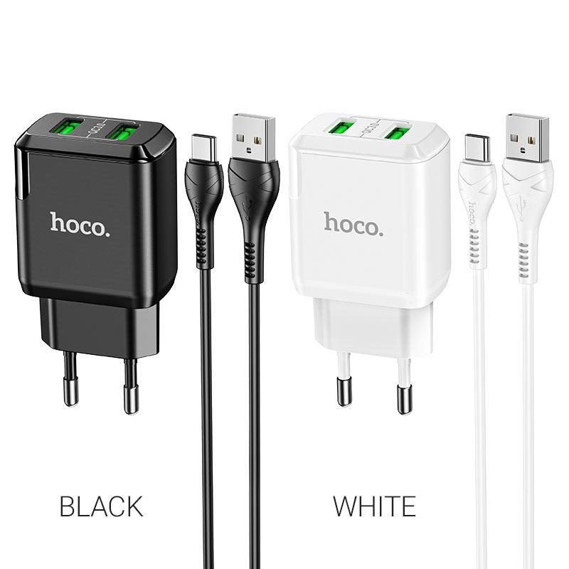 hoco n6 charmer dual port qc3 wall charger eu type c set colors