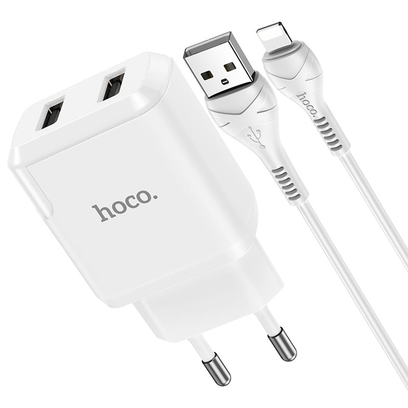 hoco n7 speedy dual port wall charger eu lightning set connectors