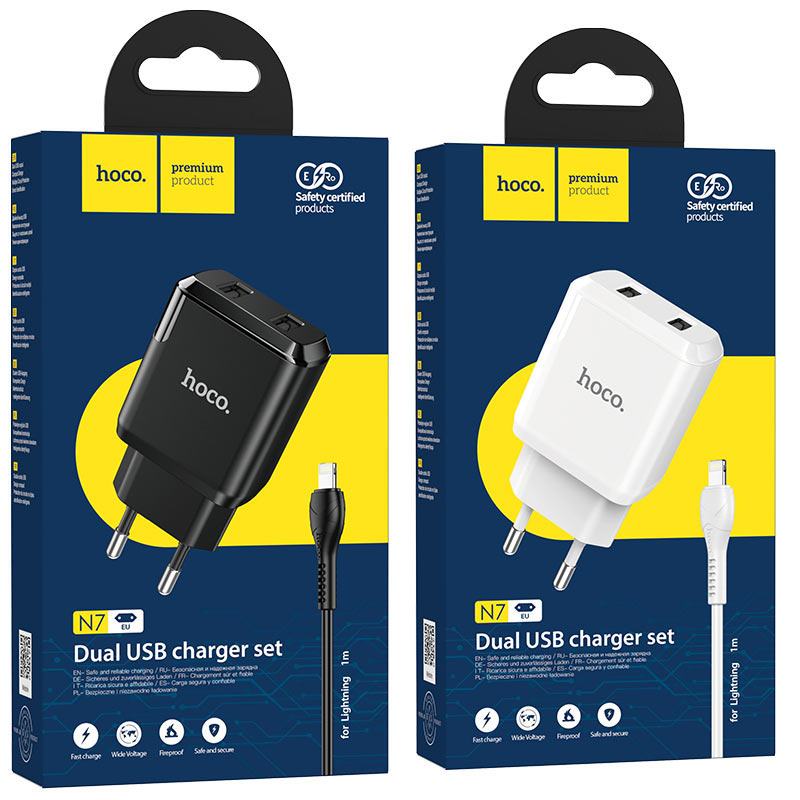 hoco n7 speedy dual port wall charger eu lightning set packages