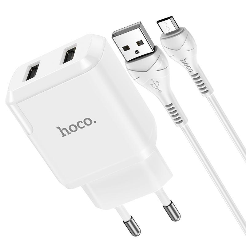 hoco n7 speedy dual port wall charger eu micro usb set connectors