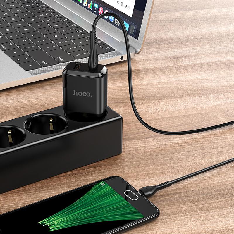 hoco n7 speedy dual port wall charger eu micro usb set interior