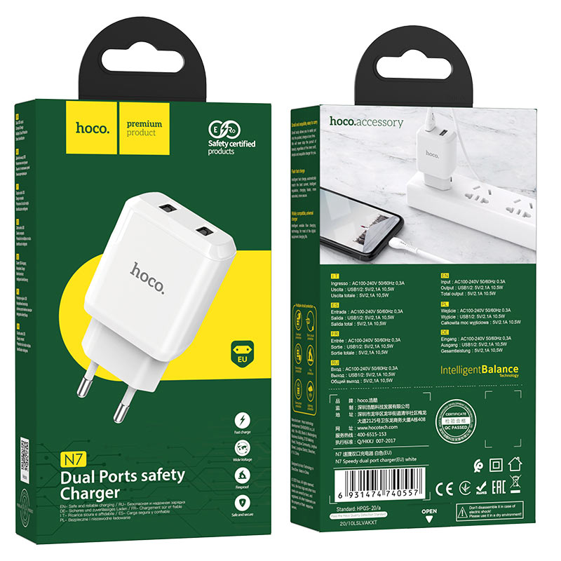 hoco n7 speedy dual port wall charger eu package white