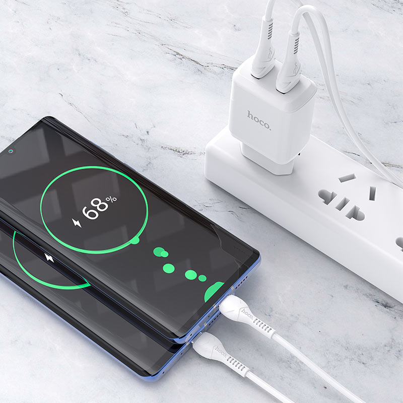 hoco n7 speedy dual port wall charger eu type c set charging