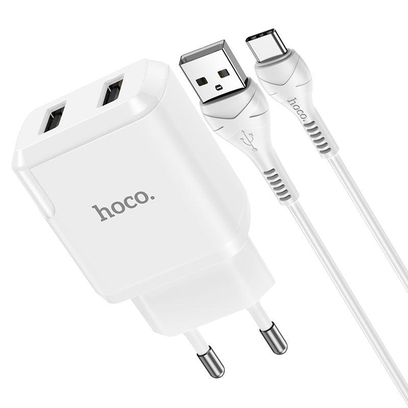 hoco n7 speedy dual port wall charger eu type c set connectors