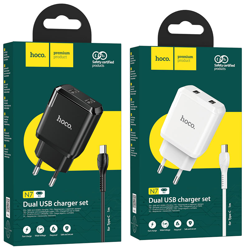 hoco n7 speedy dual port wall charger eu type c set packages