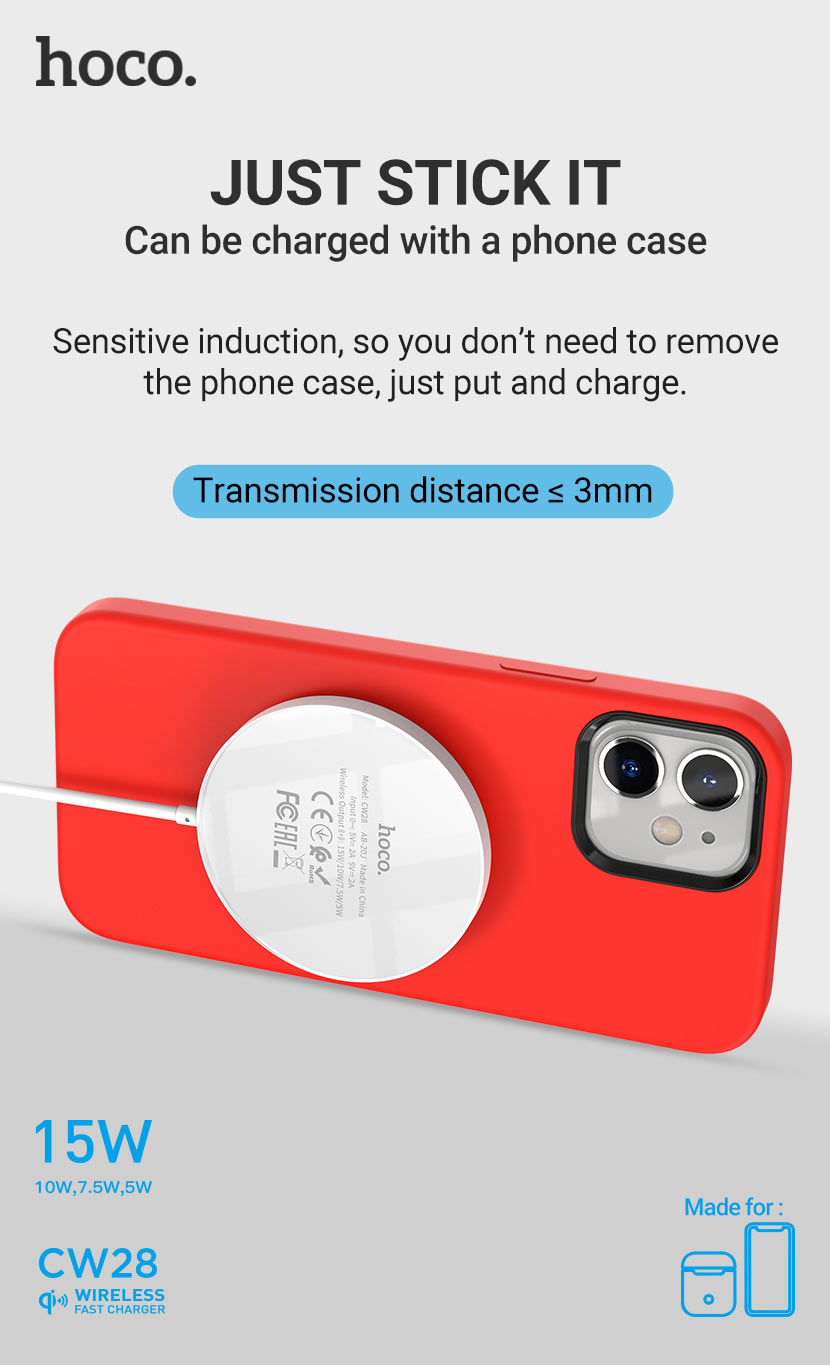 hoco news cw28 original series magnetic wireless fast charger stick it en