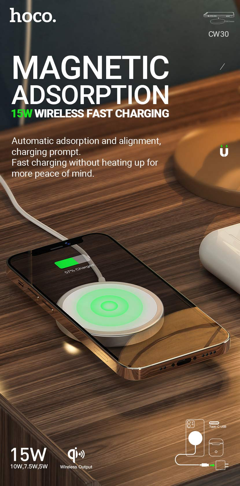 hoco news cw30 original series magnetic wireless fast charger en