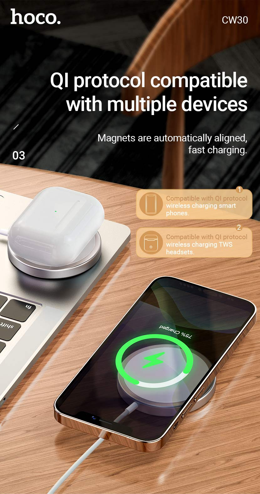 hoco news cw30 original series magnetic wireless fast charger qi en