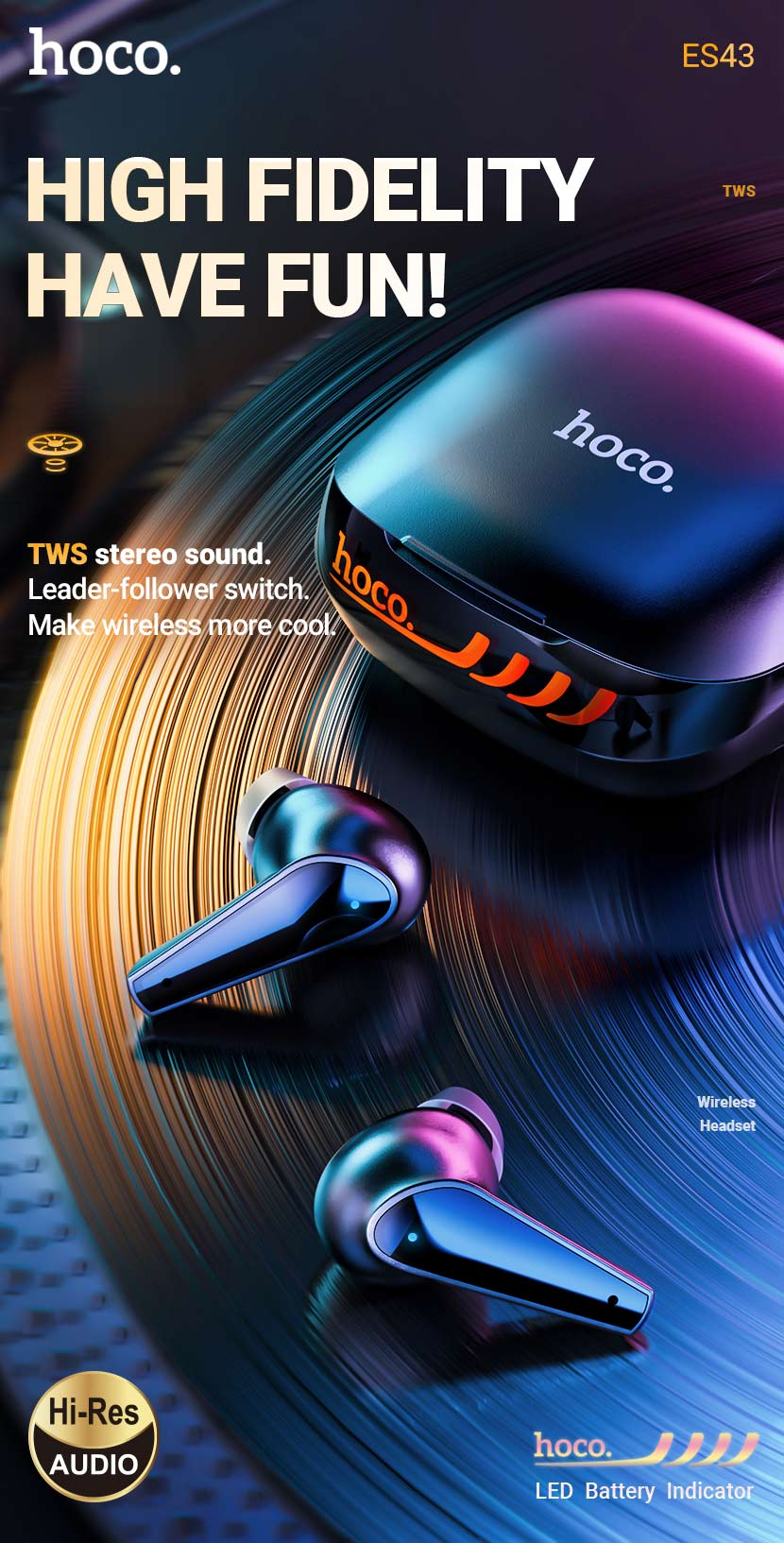 hoco news es43 lucky sound tws wireless headset fidelity en
