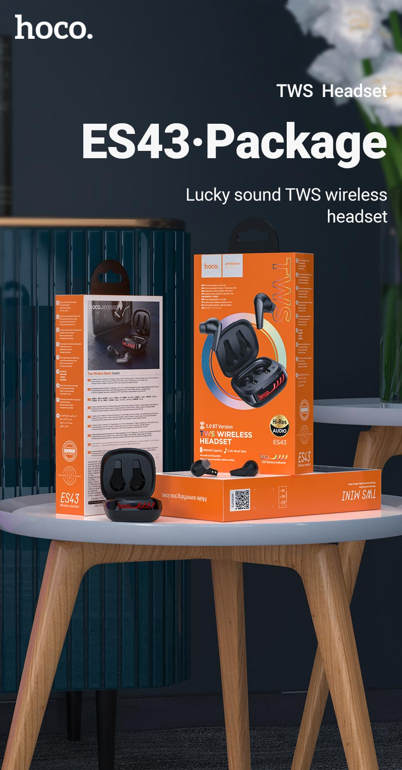 hoco news es43 lucky sound tws wireless headset package en