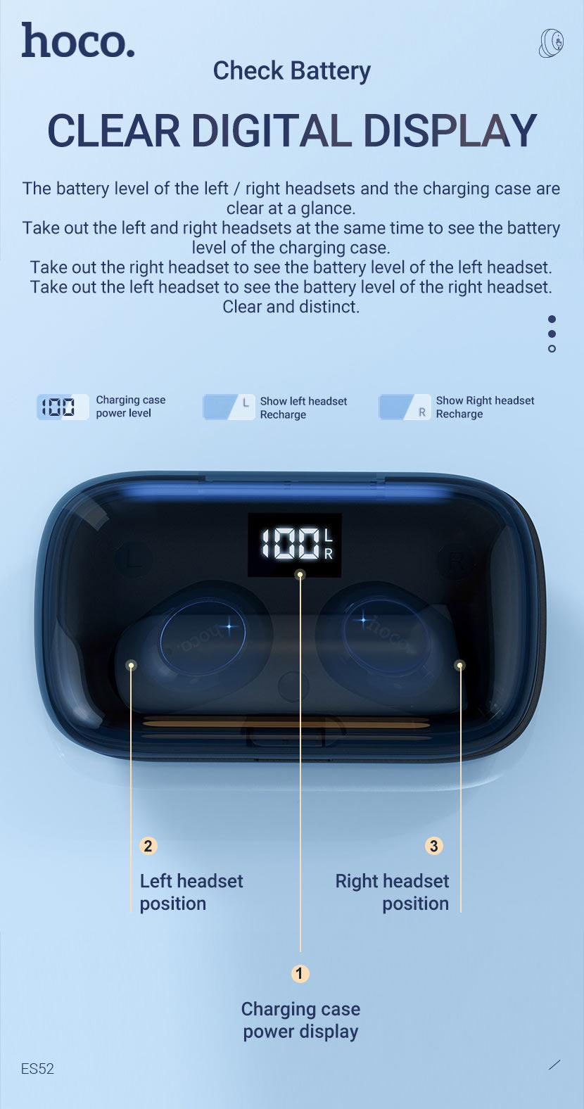 hoco news es52 delight tws wireless bt headset display en