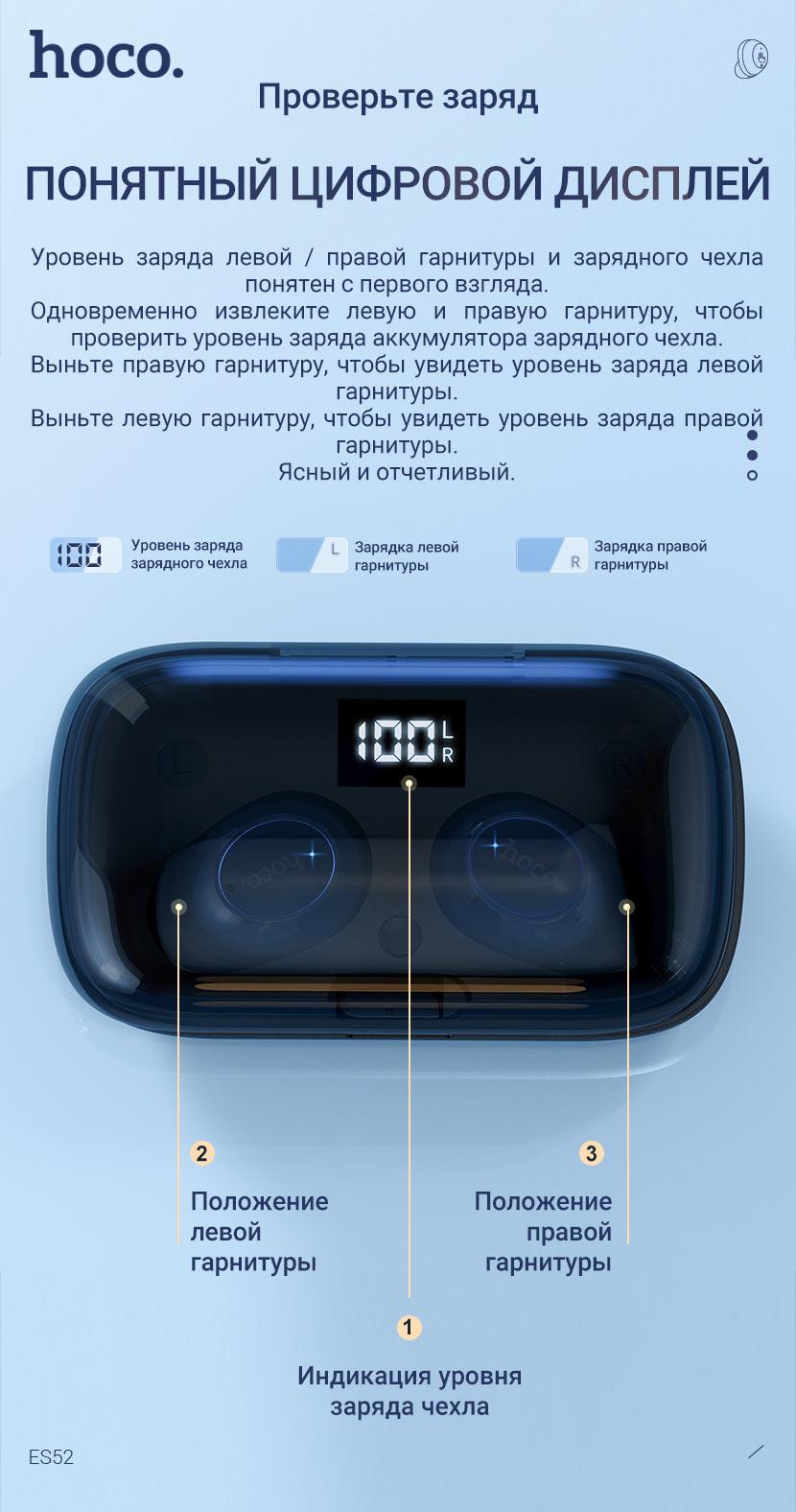 hoco news es52 delight tws wireless bt headset display ru