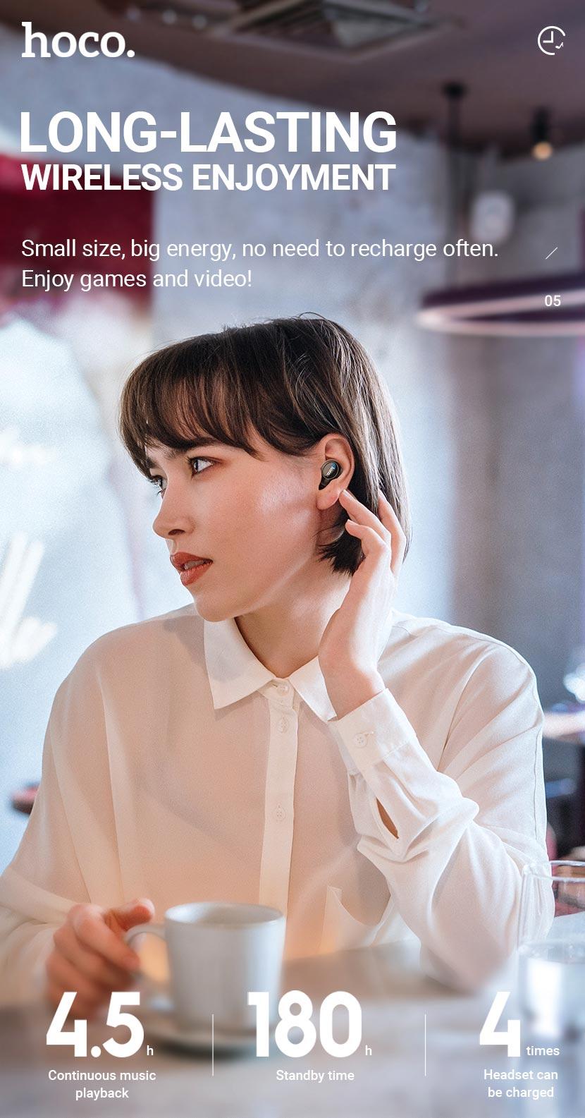 hoco news es52 delight tws wireless bt headset long lasting en