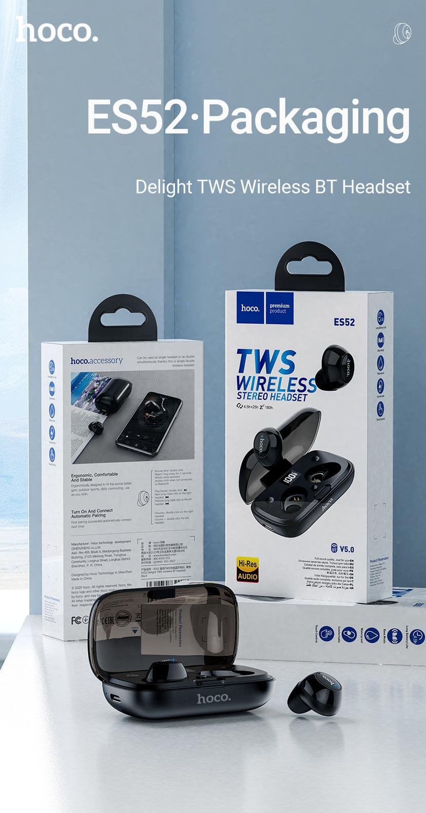 hoco news es52 delight tws wireless bt headset package en