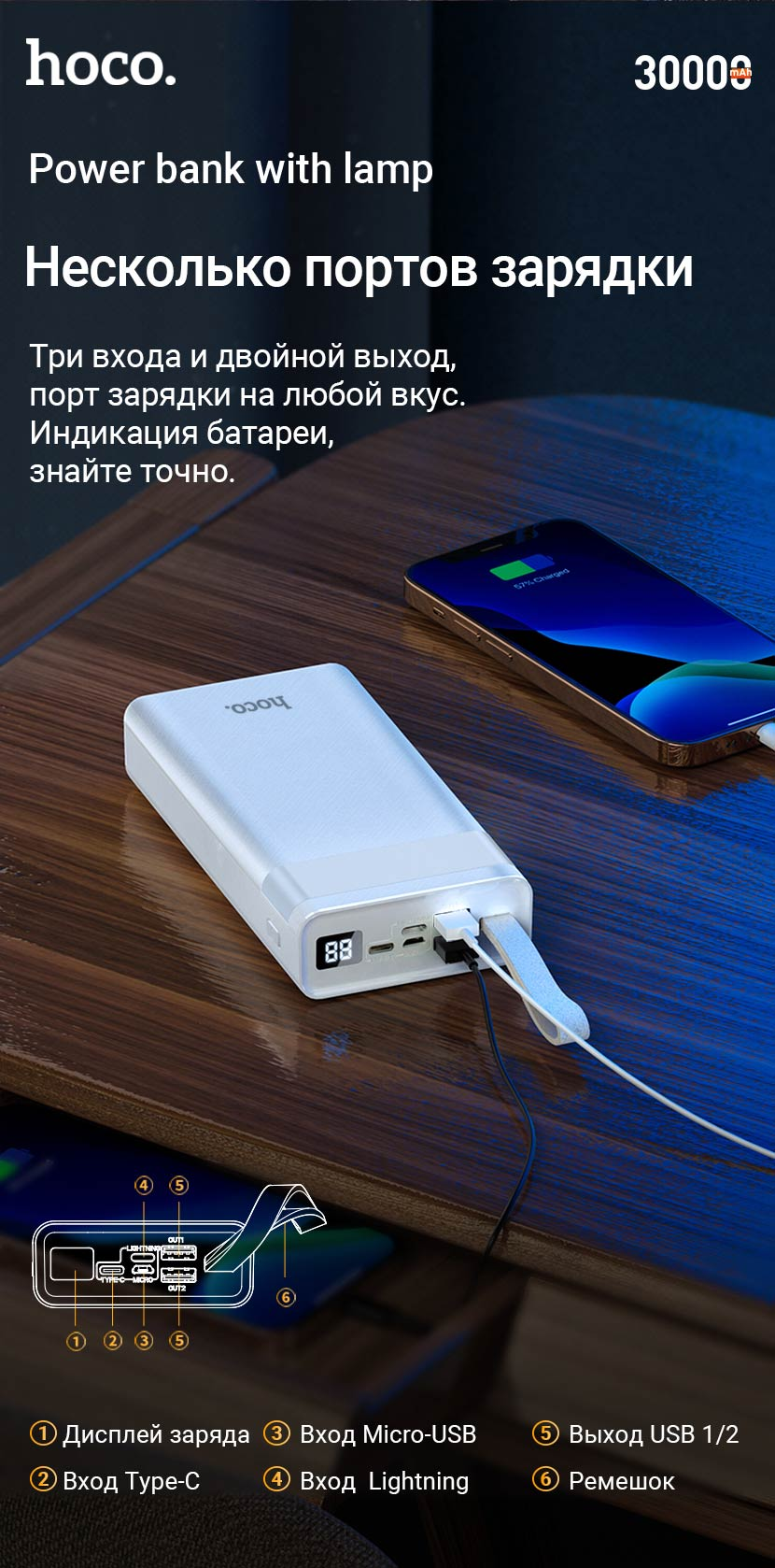 hoco news j73 powerful desk lamp power bank 30000mah ports ru
