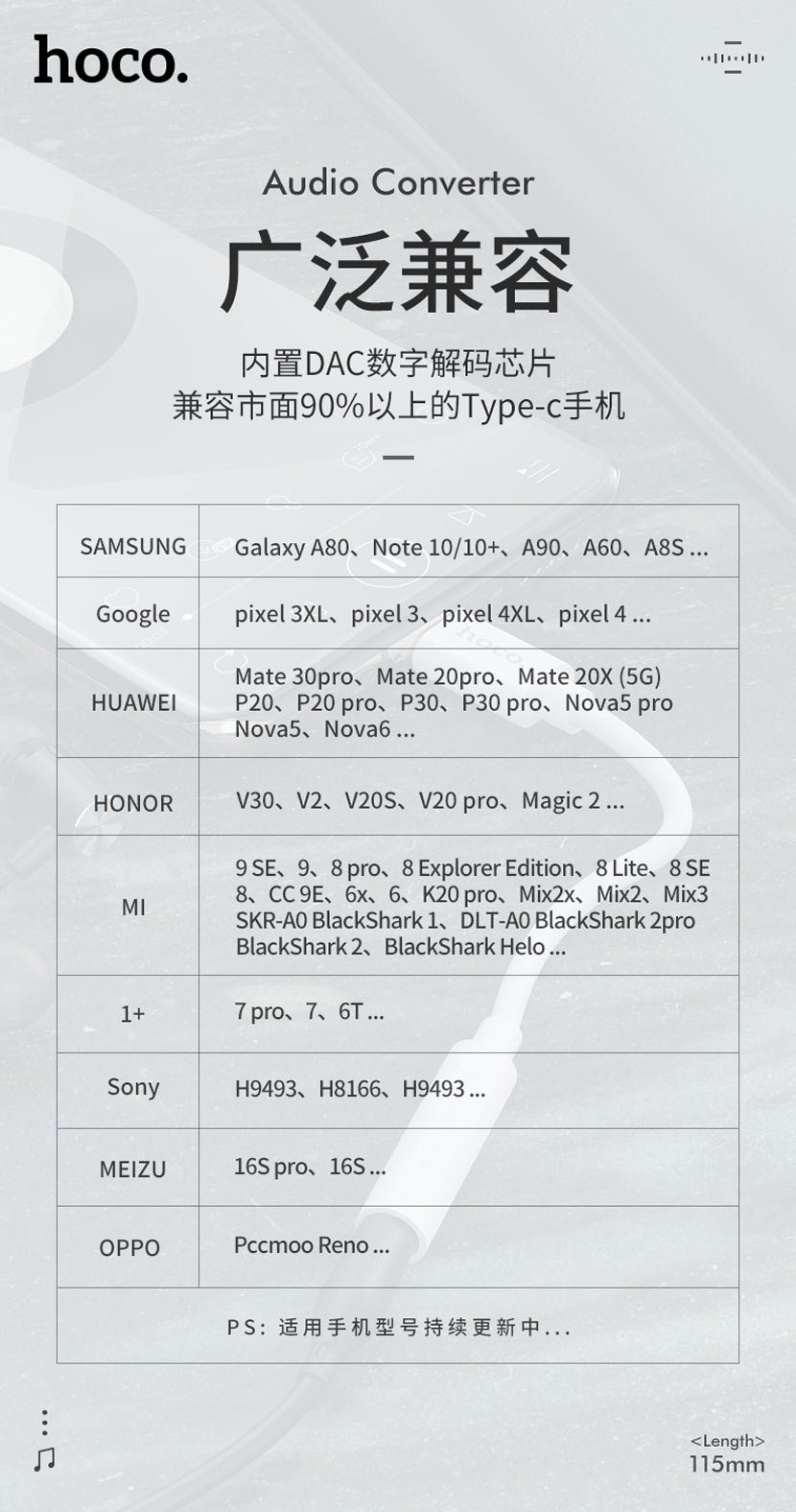hoco news ls30 type c digital 35 audio converter compatible cn