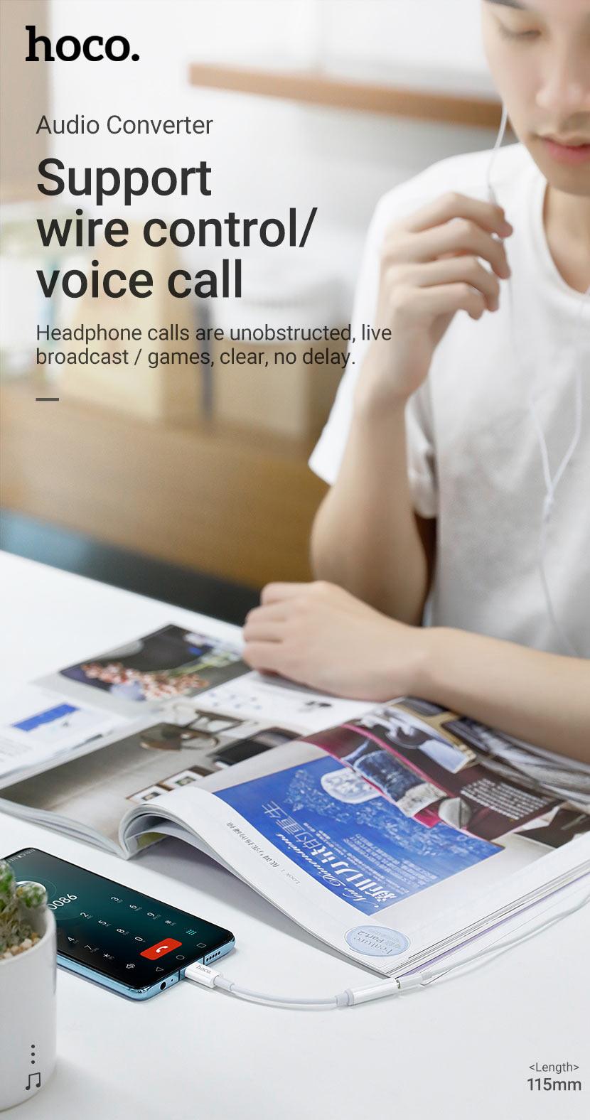 hoco news ls30 type c digital 35 audio converter control calls en