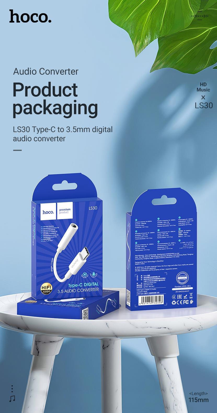 hoco news ls30 type c digital 35 audio converter package en