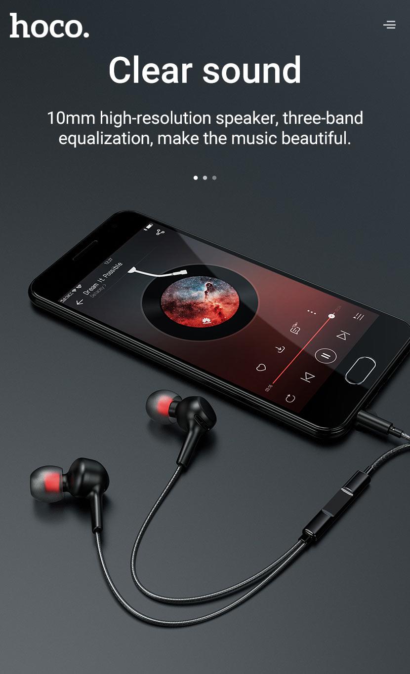 hoco news m78 el placer universal earphones with microphone clear en