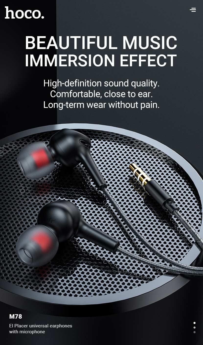 hoco news m78 el placer universal earphones with microphone en
